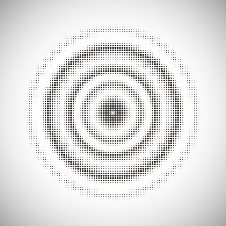 concentric: abstract dotted monochrome background in concentric circle Illustration