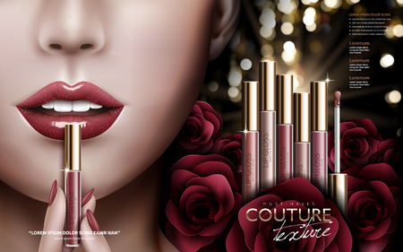 cosmetic lip gloss ad with several lip gloss and rose flower elements at right and colored lips at left, 3d illustration Illustration