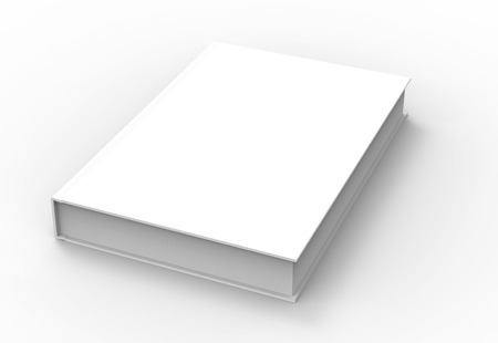 tilting: 3D rendering book mockup, blank hardcover book design isolated on white background, right tilting