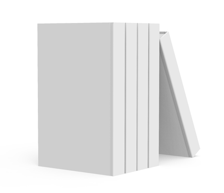 paper product: 3D rendering books mockup, stack of blank hardcover books isolated on white background