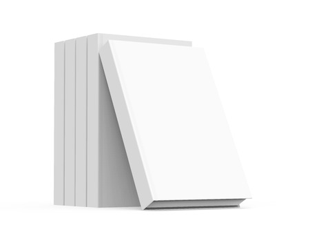 books isolated: 3D rendering books mockup, stack of blank hardcover books isolated on white background