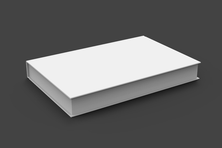 tilting: 3D rendering book mockup, blank hardcover book design isolated on black background, right tilting Stock Photo