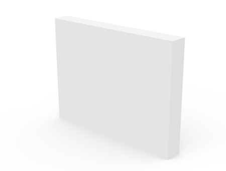 packaging box: right tilt blank white box packaging template, 3d rendering isolated white background Stock Photo