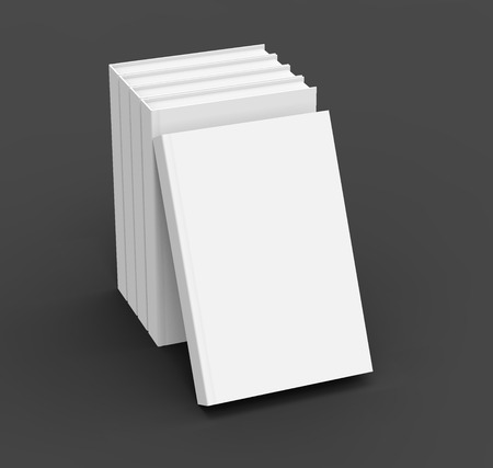 hardcovers: 3D rendering books mockup, stack of blank hardcover books isolated on black background Stock Photo