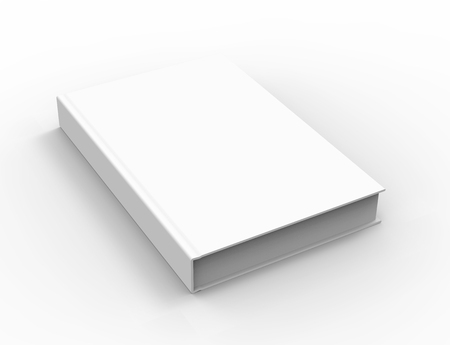 3D rendering book mockup, blank hardcover book design isolated on white background, left tilting 版權商用圖片