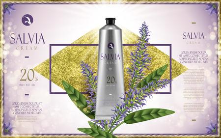 productos de belleza: Salvia crema anuncio, con la flor de la salvia, el diamante de oro y brillante luz de fondo morado, ilustración 3d Vectores