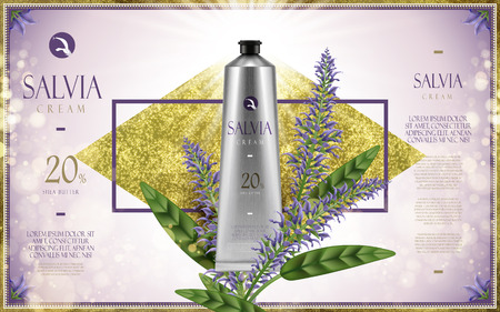 salvia cream ad, with salvia flower, golden diamond and shiny light purple background, 3d illustration