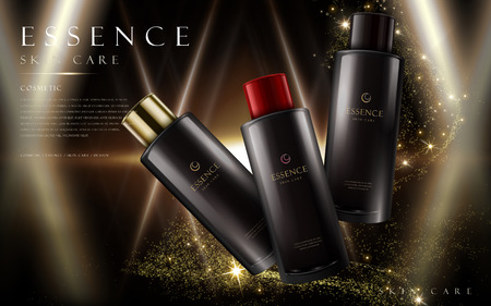 essence skin care products in black bottles, night sky background, 3d illustration Illustration