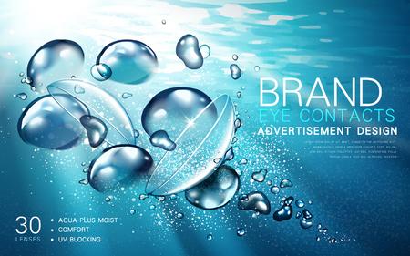 Transparante contactlenzen advertentie, met lichtstroom en bubble elementen, onderwater achtergrond, 3d illustratie