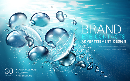 transparent contact lense ad, with light flow and bubble elements, underwater background, 3d illustration