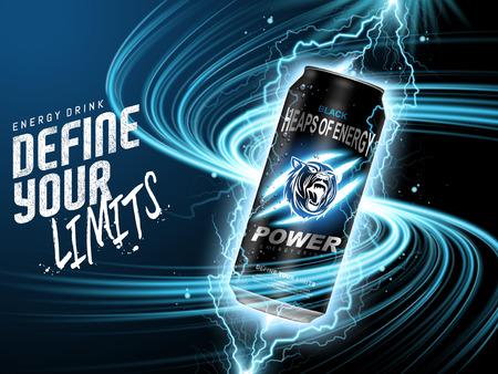 Energiedrank in zwarte kan, met huidige elementen omgeven, blauwe achtergrond, 3d illustratie