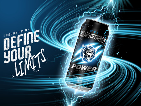energy drink: energy drink contained in black can, with current element surrounds, blue background, 3d illustration Illustration