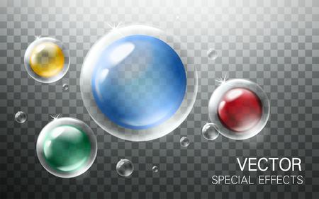 blow up: colorful bubbles with other small transparent bubble elements, transparent background, 3d illustration
