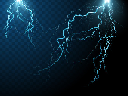 special effect: two streaks of lightning, special effect transparent background, 3d illustration