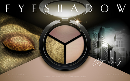 eyeshadow: multicolor eyeshadow ad separated into two parts, with a single eye at left and a metropolitan at right, 3d illustration Illustration
