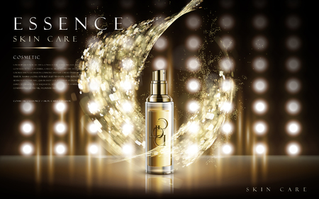 3d dimensional: essence skin care product contained in transparent bottle, with magical special effect, 3d illustration