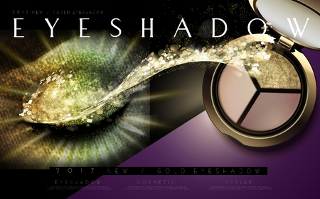 glowing skin: multicolor eyeshadow ad separated into two parts by a slash, with a thick smeared eye at left and the product at right, 3d illustration Illustration