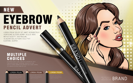 impressions: new eyebrow pencil advert ad, retro comic woman using the eyebrow pencil product, colorful picture, 3d illustration