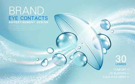 Soczewka przezroczysta reklama kontakt z elementami przepływu światła i bąbelkowy, ilustracji 3d