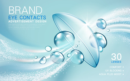 close: transparent contact lense ad, with light flow and bubble elements, 3d illustration