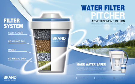 filtration: water filter machine ad, natural scenery background, 3d illustration
