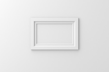 frame wall: lateral blank photo frame hanging on the wall, 3d rendering
