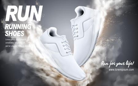chaussures de course blanches avec des effets spéciaux, illustration 3d Vecteurs