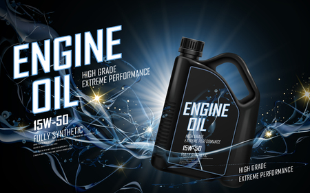 oil change: engine oil ad with blue current background, 3d illustration