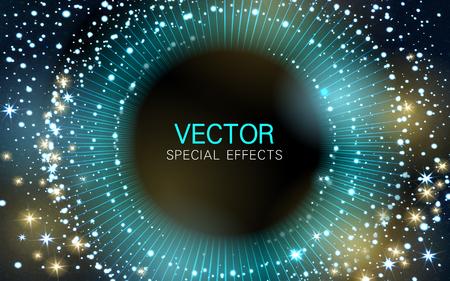 sonic: scattering cyan light streaks and glittering stars background