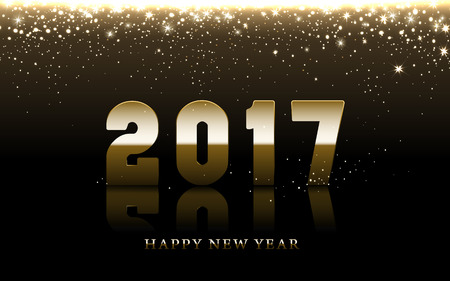 worldwide wish: 2017 Happy New Year background with golden falling stars, brown background Illustration