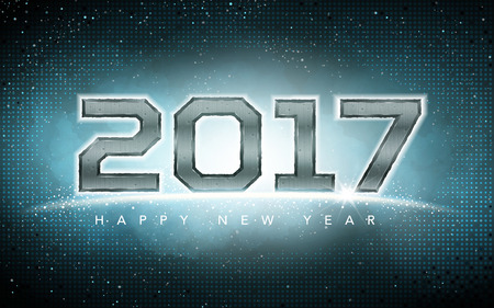 worldwide wish: 2017 Happy New Year background with cyan space mist background