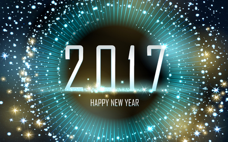 worldwide wish: 2017 Happy New Year background with golden fireworks, brown background Illustration