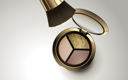 tricolor eyeshadow in golden container with brush, isolated white background