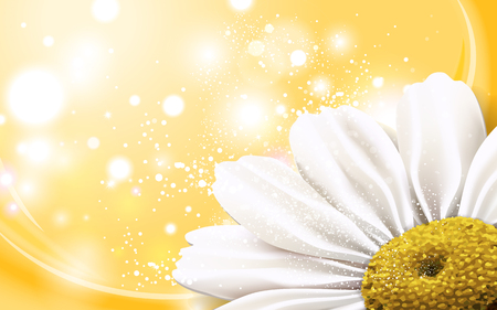 3 dimensional: chamomile flower at the corner with glitter elements, 3d illustration