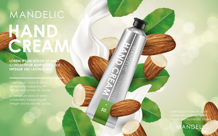 contained: mandelic essence lotion contained in tube, with almond, leaf and cream elements, 3d illustration