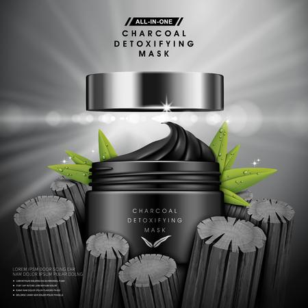 maschera disintossicante del carbone contenuto nel vaso nero, con elementi di carbone e fogli, illustrazione 3d