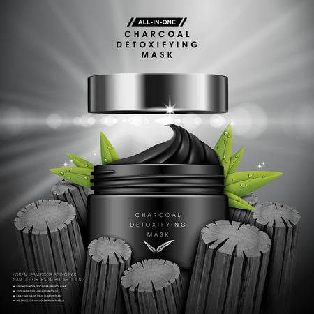 charcoal detoxifying mask contained in black jar, with charcoal and leaf elements, 3d illustration