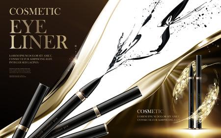 eyeliner: cosmetic eyeliner products, with ink elements and shiny background, 3d illustration Illustration
