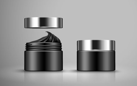 contained: charcoal detoxifying mask contained in two black jars, 3d illustration