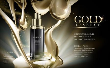 Essentie in zwarte fles, met gouden stroom achtergrond, 3d illustratie