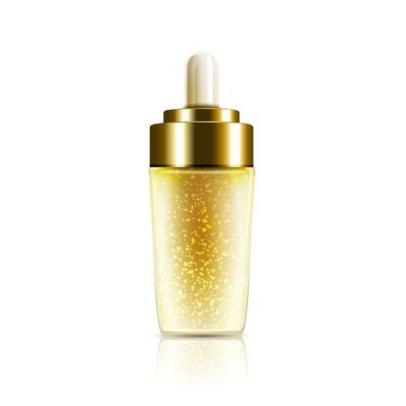 single golden droplet bottle, isolated white background, 3d illustration