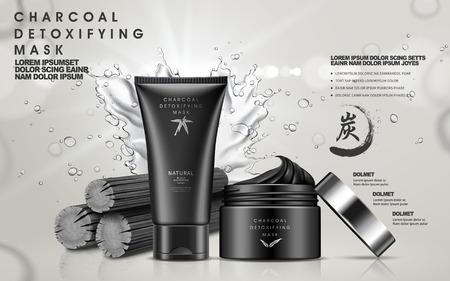 houtskool ontgiftende masker in zwarte pot en de buis, met houtskool en water splash elementen, 3d illustratie