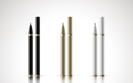 eyeliner: black, golden and white eyeliners, isolated white background