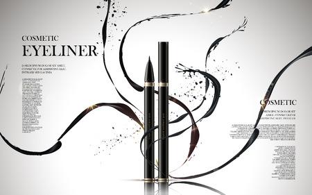 eyeliner: cosmetic eyeliner products, with ink elements isolated white background, 3d illustration Illustration