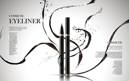cosmetic eyeliner products, with ink elements isolated white background, 3d illustration Illustration