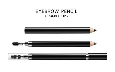 three black eyeliner pencils, isolated white background, 3d illustration