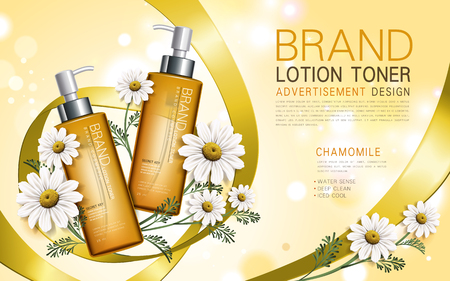 3d dimensional: chamomile lotion toner contained in a bottle with flower and ribbon elements, 3d illustration