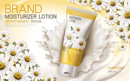 loción hidratante de manzanilla contenida en un tubo con elementos de la flor y nata, ilustración 3d
