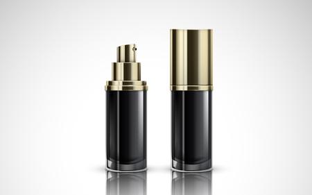キャップ付きとなし、3 d イラストレーションの 2 つ黒い化粧品含むボトル