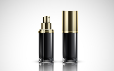 two black cosmetic containing bottles, one with cap and one without, 3d illustration